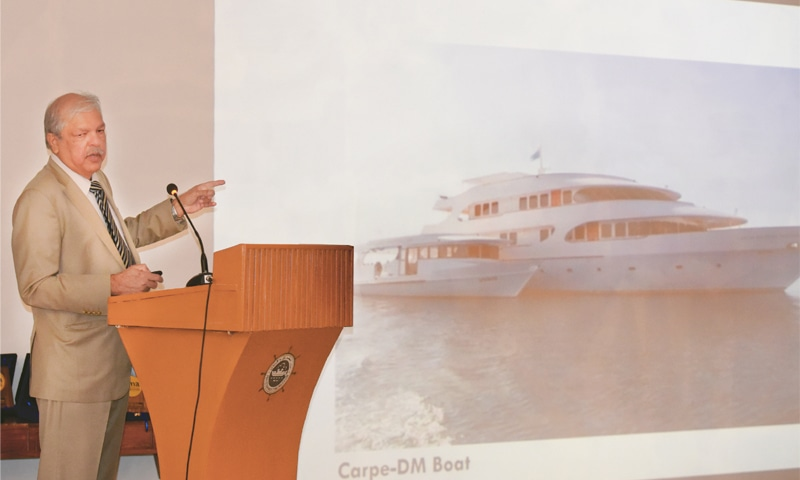 RETIRED vice admiral Syed Khawar Ali Shah speaks at the event. —White Star