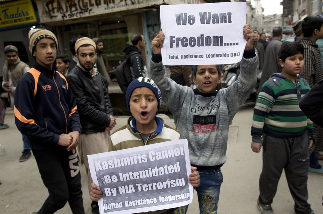 Children in Srinagar protest for peace and freedom | AP