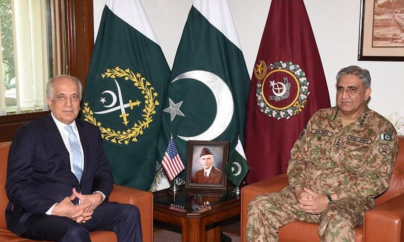 US special envoy Zalmay Khalilzad meets Army Chief Gen Qamar Javed Bajwa at GHQ. — ISPR