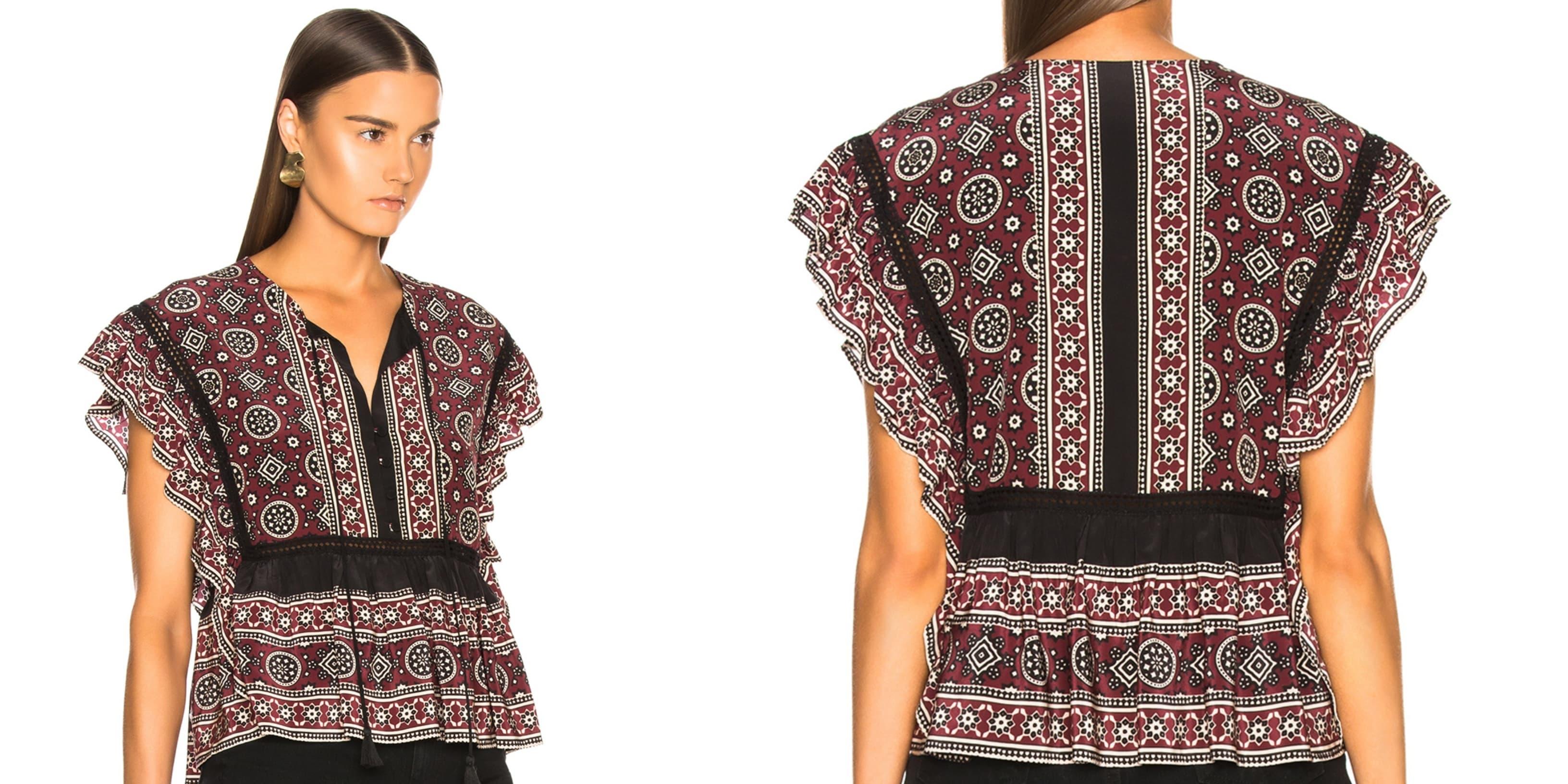 امریکی کمپنی نے اجرکے کی طرز پر بنائے گئے لباس کو مختلف رنگوں کے بلاکس میں تیار شدہ کپڑے قرار دیا تھا—فوٹو: ایف ڈبلیو آر ڈی