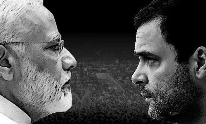 نریندر مودی اور راہول گاندھی وزیر اعظم کے لیے مضبوط امیدوار تھے — فوٹو: ٹائمز ناؤ