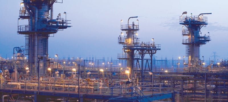 A view of the Haradh gas plant located at the southern tip of the Ghawar oil field, which is the largest conventional oil field in the world.