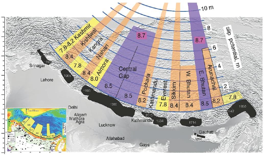 Map of historical mega earthquakes and predicted earthquake magnitudes along the Hindu Kush/Himalayan/Karakoram tectonic interface arc.