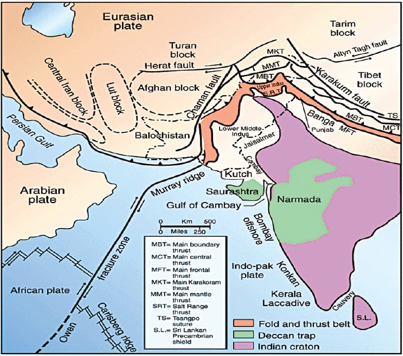 Basins and tectonics in South Asia.
