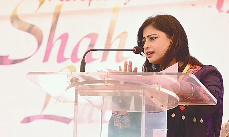 Dr Sadia Kamal giving her talk at the event on Sunday.—White Star