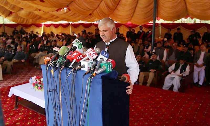 Khyber Pakhtunkhwa Chief Minister Mahmood Khan said that 28,000 personnel will benefit from a merger of the Khasadar and Levies forces with KP Police. ─ Photo courtesy Mehmood Khan Twitter