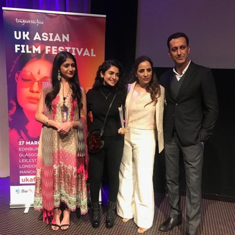 L-R; Laraib Atta, Hajra Yamin, Shazia Ali Khan and Adnan Jafar at the award ceremony
