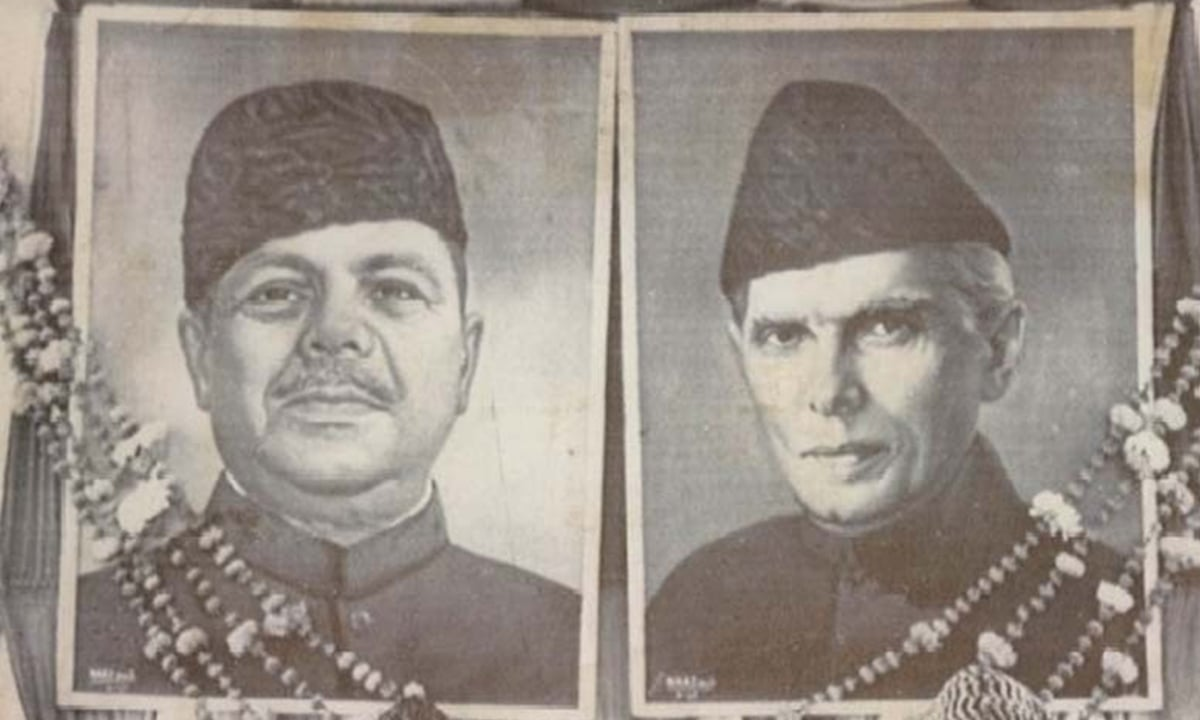 Portraits of Ayub Khan and Muhammad Ali Jinnah