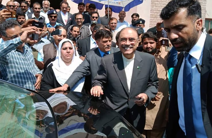 Former president Asif Ali Zardari speaks to reporters after appearing before the accountability court on Monday.—White Star