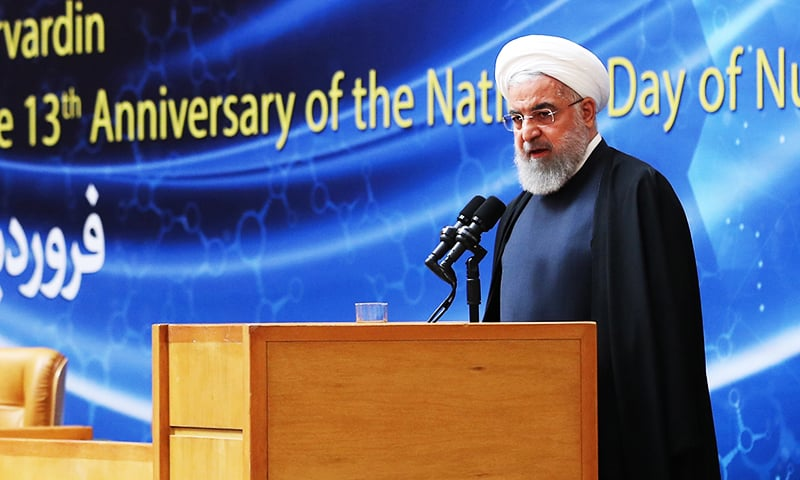 """A handout picture shows Iranian President Hassan Rouhani delivering a speech during the """"nuclear technology day"""" in Tehran.— AFP"""