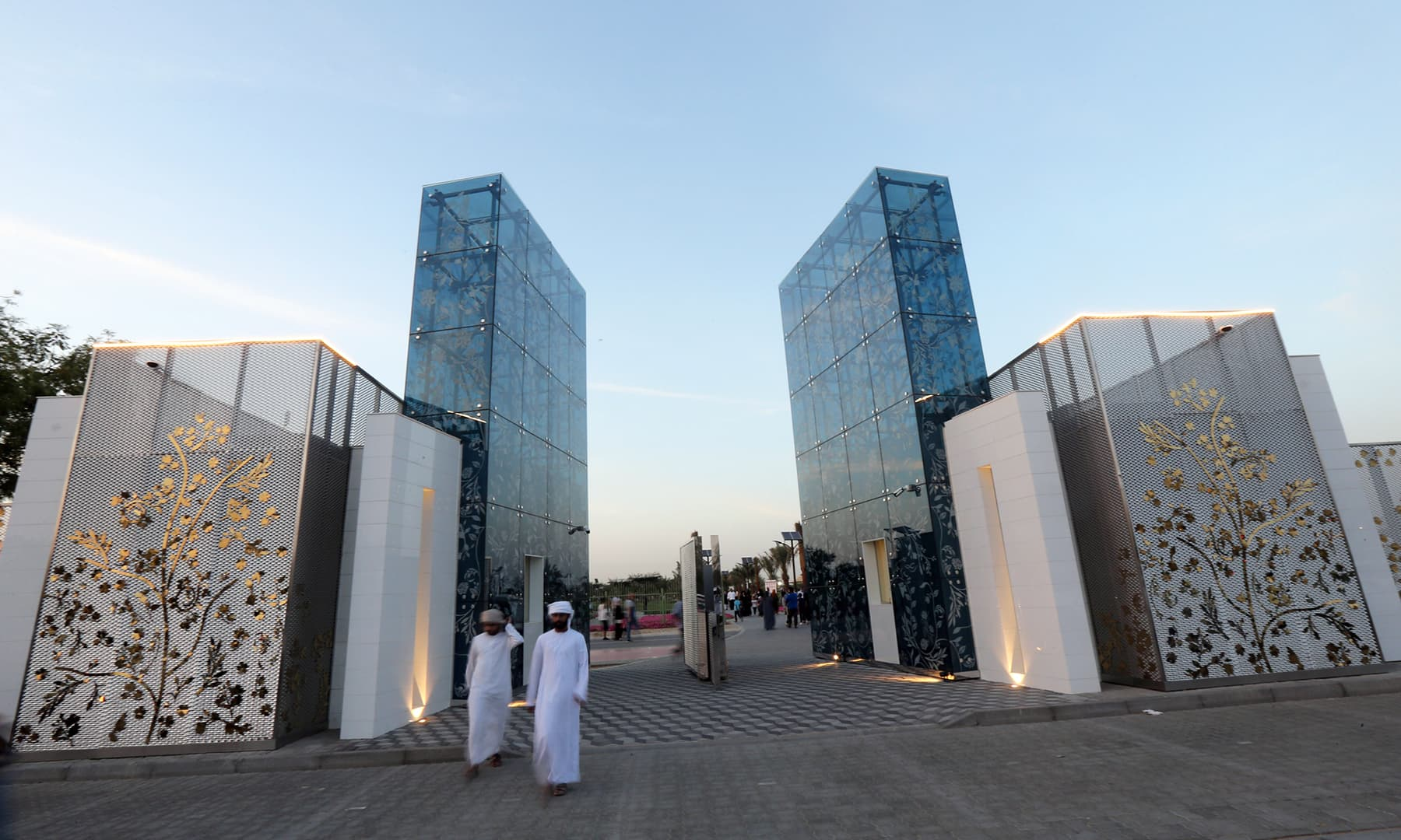 Visitors are pictured outside Dubai's Quranic Park on April 6. — Reuters