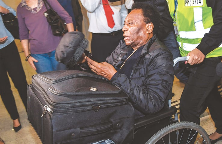 GUARULHOS (Brazil): Pele arrives at the Guarulhos International Airport on Tuesday.—AFP