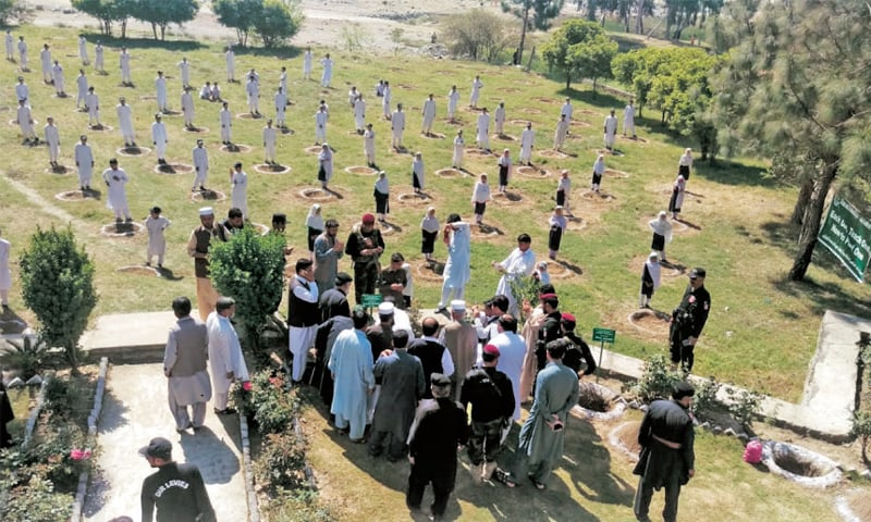 Students plant saplings in Lower Dir on Tuesday. — Dawn