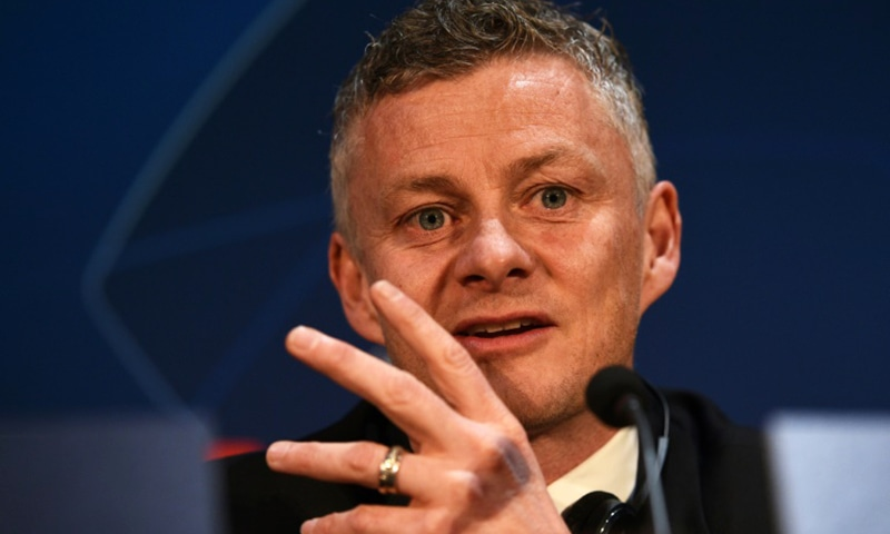 Manchester United manager Ole Gunnar Solskjaer speaks to the press ahead of his side's Champions League quarter-final against Barcelona. — AFP
