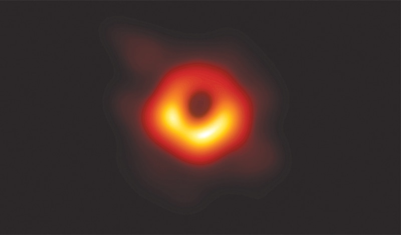 THIS handout shows the first-ever photo of a black hole. Using a network of telescopes to see 'the unseeable', an international team of scientists announced on Wednesday a milestone in astrophysics — the first photo of a black hole — in an achievement that validated a pillar of science put forward by Albert Einstein more than a century ago. The picture at the centre of Messier 87, a massive galaxy in the relatively nearby Virgo cluster, shows a glowing ring of red, yellow and white surrounding a dark centre.—Reuters