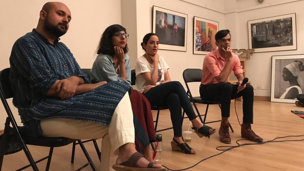 Naveed with activist Sadia Khatri and visual artist Samya Arif who are featured in Puff Puff Pak. They are joined by Jahanzeb Hussain, who moderated the discussion.