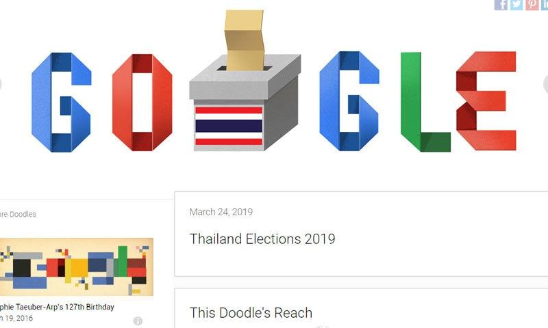 تھائی لینڈ کے انتخابات پر جاری کیا گیا ڈوڈل—اسکرین شاٹ