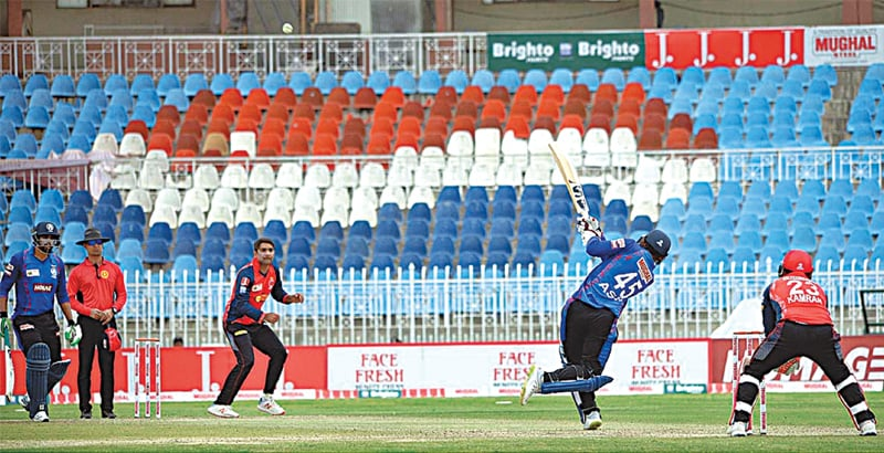 RAWALPINDI: Sindh's Asif Ali hits over the top during his half-century knock against Punjab in the Pakistan Cup fixture at the Pindi Cricket Stadium on Thursday.—APP