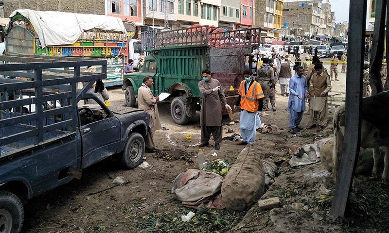 دھماکے کے وقت سبزی منڈی میں بڑی تعداد میں لوگ موجود تھے—تصویر:رائٹرز