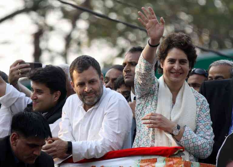 Congress President Rahul Gandhi and Uttar Pradesh Congress General Secretary Priyanka Gandhi in Lucknow on February 11, 2019. (Photo credit: AFP)