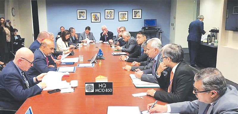 Finance Minister Asad Umar in a meeting with a team of the World Bank, led by Hartwig Schafer, vice president for the South Asian region.—APP