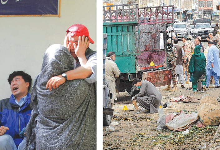 Quetta: This photo shows family members of the blast victims comforting each other outside a mortuary and (right) security officials inspect the site of the bombing at a fruit market in the city.—Agencies