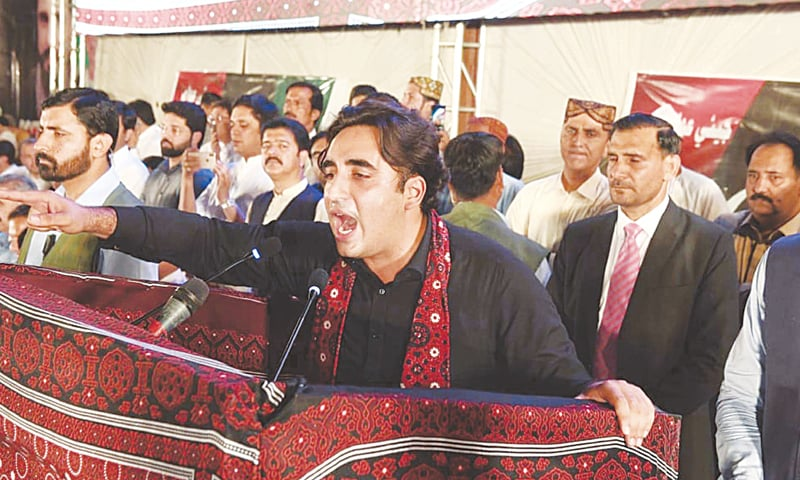 Pakistan Peoples Party chairman Bilawal Bhutto-Zardari addresses a public gathering on Friday.—PPI