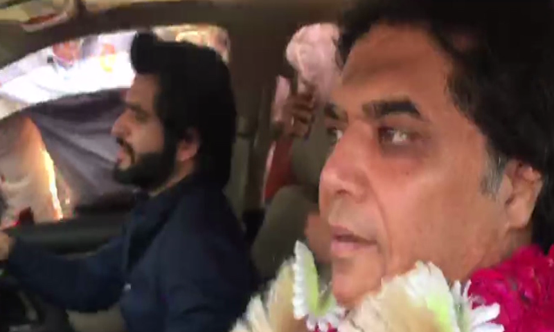 Hanif Abbasi pictured heading to Rawalpindi after his release from Lahore's Camp Jail on Saturday. — DawnNewsTV