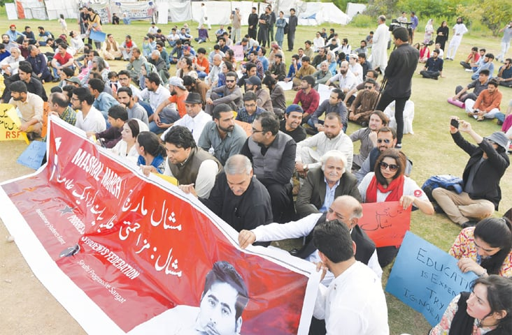 ISLAMABAD: Members of civil society take part in a demonstration on the second death anniversary of Mashal Khan on Saturday.—Tanveer Shahzad / White Star