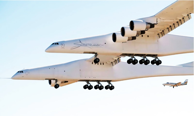 The Stratolaunch is so big its wing span is longer than a football field, or about 1.5 times that of an Airbus A380. — AFP