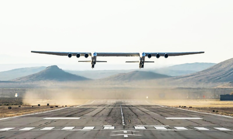 The Stratolaunch is designed to carry into space, and drop, a rocket that would in turn ignite to deploy satellites. — AFP