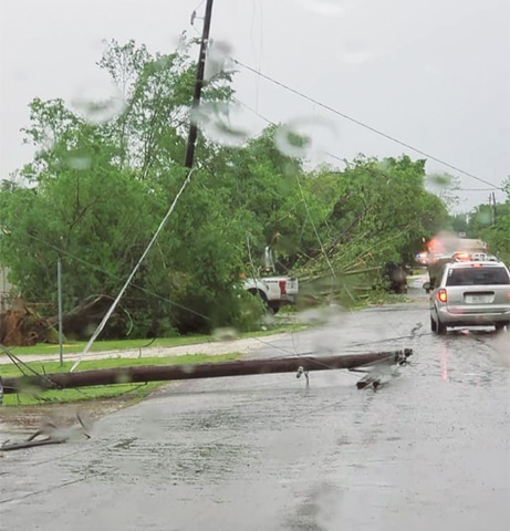 Franklin (Texas, US): A downed power line and debris seen in the aftermath of a tornado in this image from social media.—Reuters