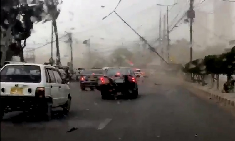 The blustery winds have uprooted electricity poles and trees in different parts of the megalopolis, causing traffic blockages. ─ Photo courtesy Norbalm Twitter screengrab