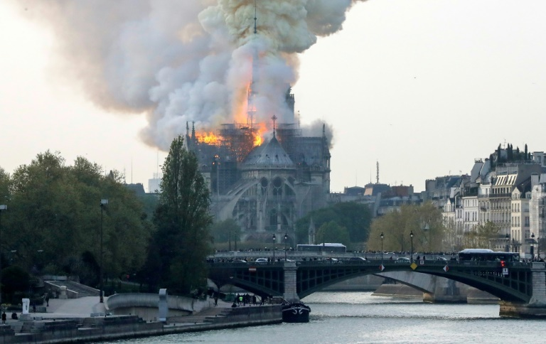 A spokesman for the cathedral told AFP that the wooden structure supporting the roof was being gutted by the blaze. — AFP