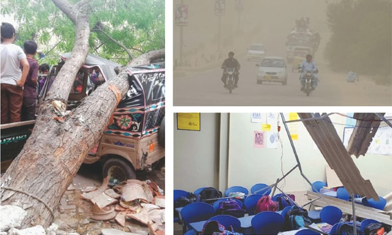 (Left) A RICKSHAW is seen badly damaged on a street in Hyderabad after a tree fell over it during a heavy storm and (right-top) a view of the traffic passing through a road during gusty winds on Monday. (Right-bottom) Furniture and roof of a school in Karachi are shattered.—INP/PPI