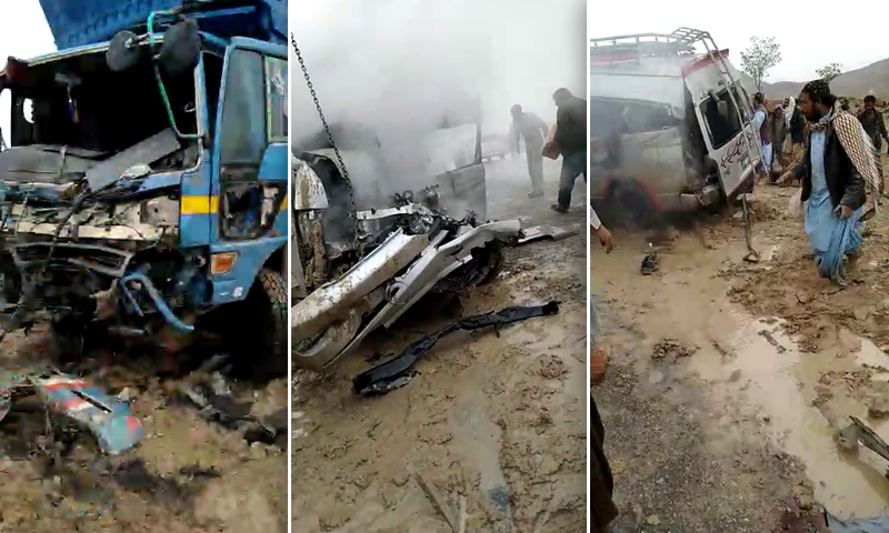 Eleven individuals, most of whom belonged to a family travelling from Karachi to Qila Abdullah, were killed in a traffic accident in Balochistan's Mastung district on Tuesday. — DawnNewsTV