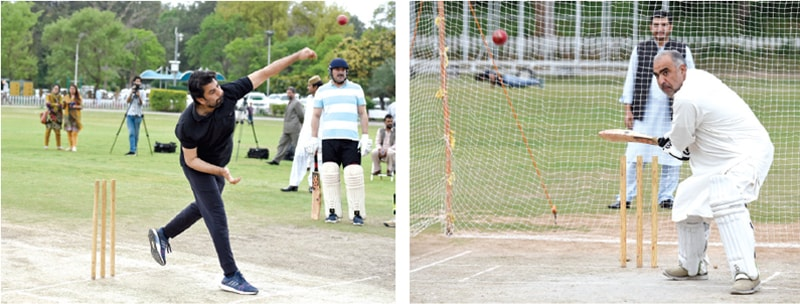 National Assembly Deputy Speaker Qasim Suri and Speaker Asad Qaiser in action at the training camp organised for parliamentarians at the Shalimar Cricket Ground on Tuesday. — Photos by Tanveer Shahzad