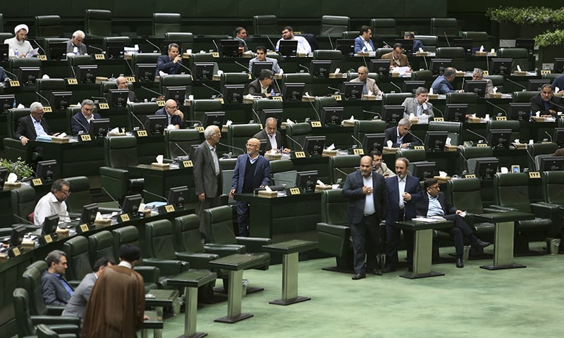 Iranian lawmakers attend a session of parliament in Tehran, Iran on April 16, 2019. — AP