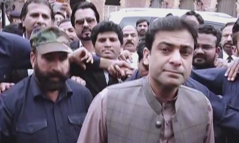 Punjab Assembly Opposition Leader Hamza Shahbaz at the Lahore High Court today. — DawnNewsTV
