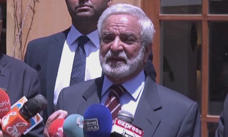 PCB Chairperson Ehsan Mani speaks to the media on Wednesday. ─ DawnNewsTV