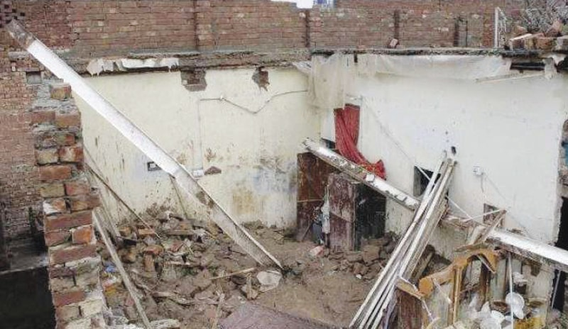 A View of the house that collapsed in Bajaur on Wednesday due to heavy rain. — Dawn
