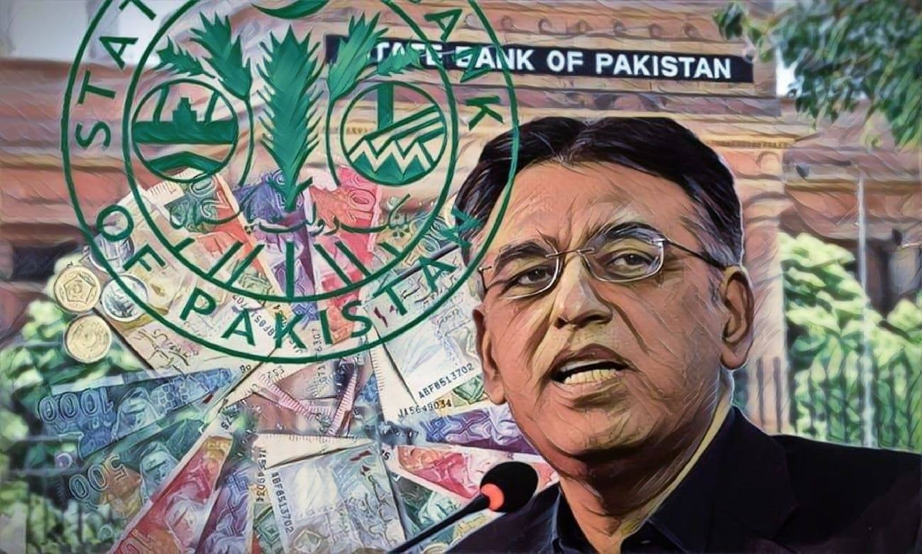 Asad Umar stepped down as finance minister on Thursday. — AFP/Illustration by Hufsa Chaudhry