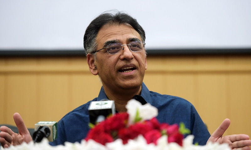 Asad Umar, who resigned as finance minister, speaks to the media during a press conference in Islamabad on Thursday. — AFP