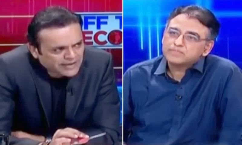 PTI leader Asad Umar (R) in discussion with journalist Kashif Abbasi (L) on ARY News programme Off The Record on Thursday night. — Screengrab
