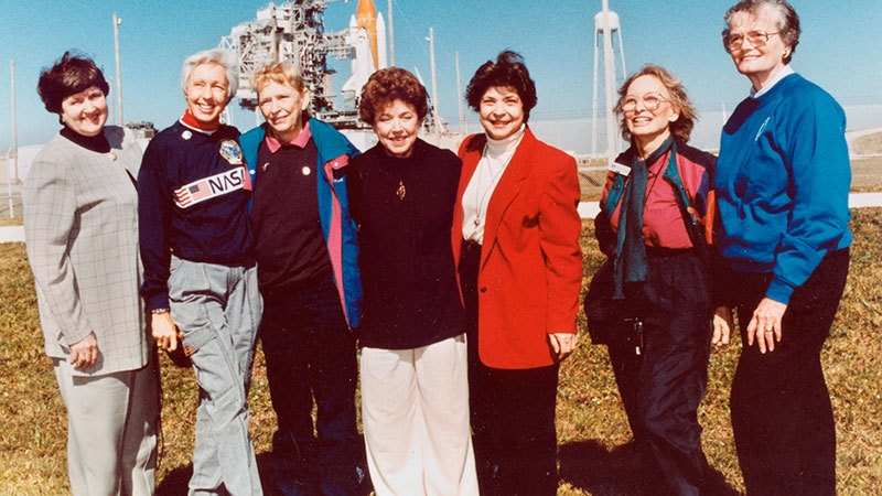 """In this 1995 file photo, members of the FLATs, also known as the """"Mercury 13,"""" gather for a photo as they attend a shuttle launch in Florida. From left are Gene Nora Jessen, Wally Funk, Jerrie Cobb, Jerri Truhill, Sarah Rutley, Myrtle Cagle and Bernice Steadman. They were the invited guests of space shuttle pilot Eileen Collins, the first female shuttle pilot and later the first female shuttle commander. — AP/provided by NASA"""