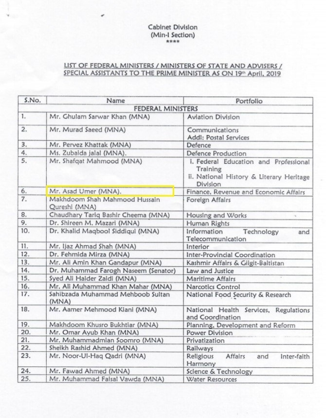 Cabinet Division list as on April 19, 2019. ─ Provided by author