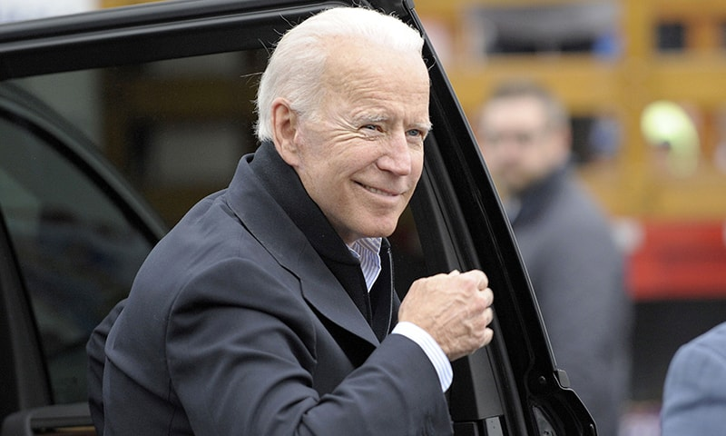 In this file photo taken on April 18,  Former US vice president Joe Biden arrives at a rally organised by UFCW Union members to support Stop and Shop employees on strike throughout the region at the Stop and Shop in Dorchester, Massachusetts. — AFP