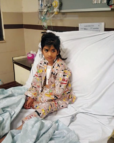 Five-year-old Anaya after undergoing the procedure.