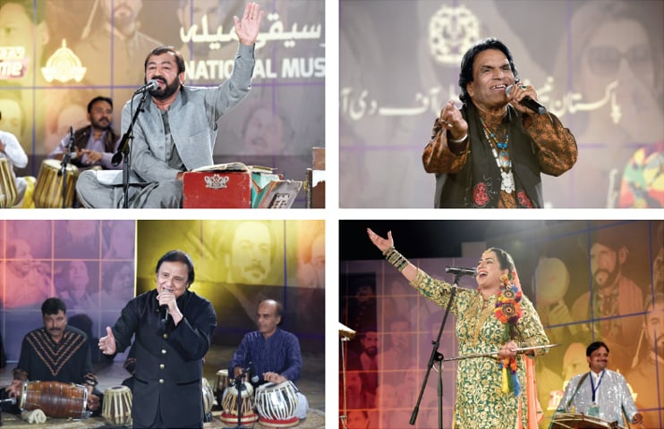 Clockwise from left: Fok singers Anwer Khayal, Qurban Niazi, Naeemul Hassan and Laila Jatti perform at the Music Mela at the PNCA on Friday. — Photos by Tanveer Shahzad
