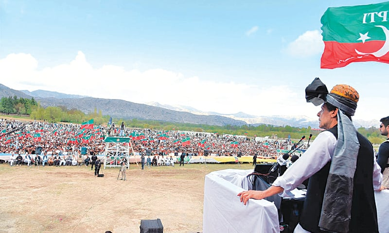 Prime Minister Imran Khan addressing a public gathering at Kalaya, in Orakzai tribal district, on Friday.—INP